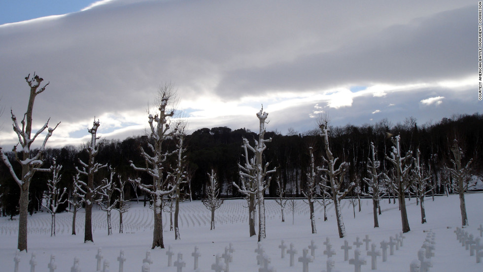 Snow covers the ground at Florence American Cemetery in Italy. The cemetery contains more than 4,000 headstones.