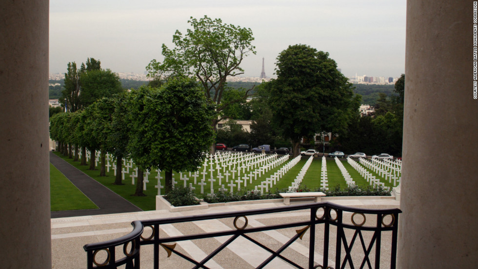 Located just outside of Paris, the Eiffel Tower can be seen from Suresnes American Cemetery.