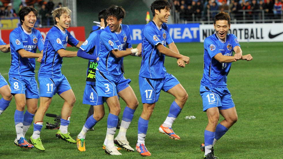 "Ulsan Hyundai players perform the horse-riding dance of Psy's worldwide pop hit ""Gangnam Style"" after winning the AFC Champions League football final against Saudi Arabia's Al Ahli."