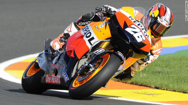 Repsol Honda rider Dani Pedrosa will start the final race of the 2012 season in pole position after topping qualifying.