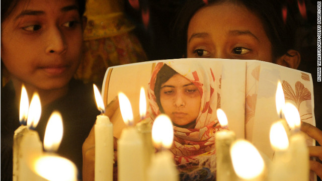 "Supporters of child activist Malala Yousafzai mark ""Malala Day"" in Karachi, Pakistan, on November 10, 2012."