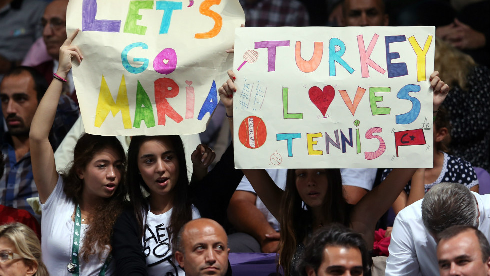 Tennis has a global appeal and these fans in Turkey had their own favorite in Russian star Maria Sharapova.