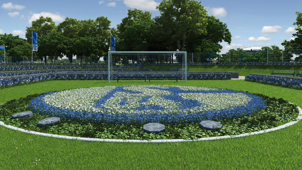 "The ""pitch"" will feature the Schalke logo, made up of blue and white flowers, with a goal at each end and benches in the middle of those."