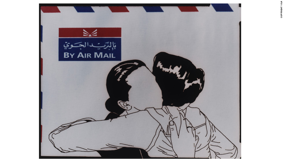 <strong>'Airmail' from the series 'Out of Line' by Jowhara AlSaud (2008)</strong>Saudi artist Jowhara AlSaud scratched the outline of a snapshot photograph into the emulsion of a large-format film cell in order to create this image. She explores Saudi Arabia's ban on depicting personal imagery -- and, she says, censorship more generally -- by removing faces, often from members of the Saudi Diaspora.