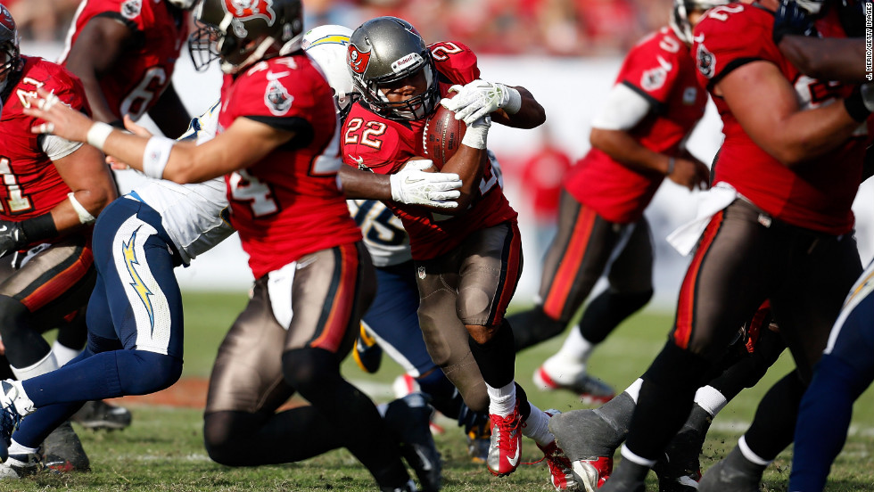 Running back Doug Martin of the Tampa Bay Buccaneers runs the ball against the San Diego Chargers at Raymond James Stadium on Sunday, November 11, in Tampa, Florida. Tampa Bay won 34-24.