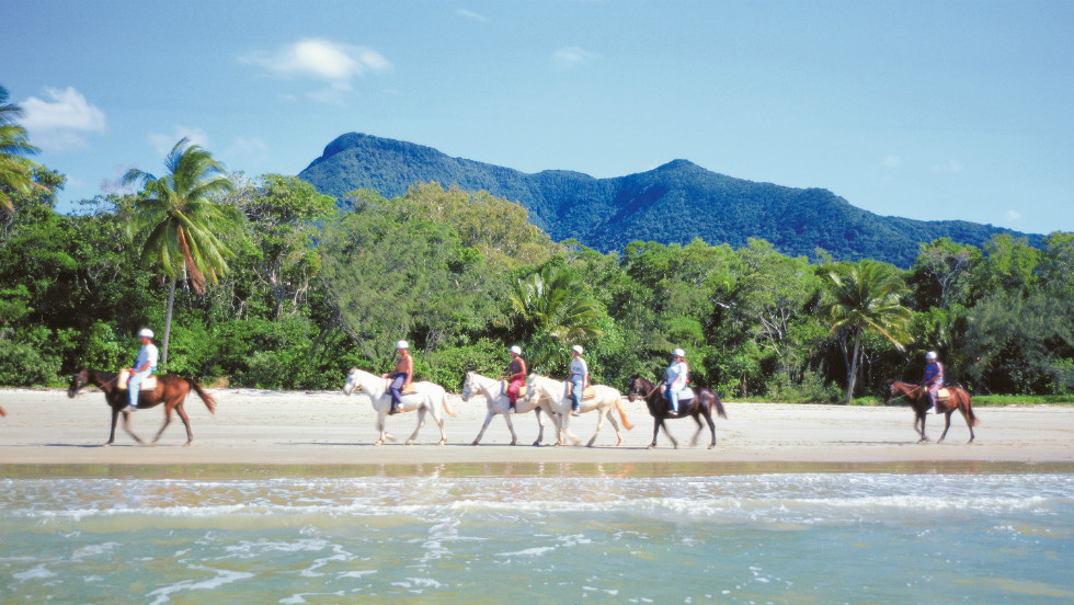 Australia is synonymous with gorgeous beaches, and plenty of visitors will be heading to the beaches around Cairns and Port Douglas to watch the solar eclipse. Those seeking an even more special experience can saddle up and take a horse riding tour along Wonga Beach.