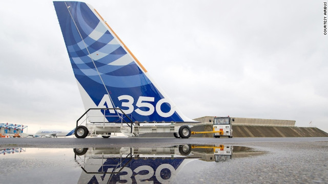 The vertical tail plane of the first A350 XWB that will fly, fresh out of the paint hall in Toulouse, France.