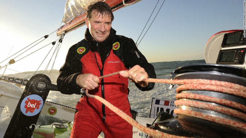 Compatriot Kito de Pavant retired the next day after his yacht Groupe Bel was struck by a fishing boat off the coast of Portugal.