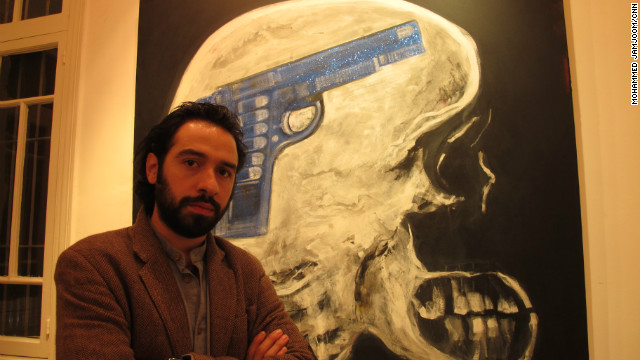 Fadi Al-Hamwi is the only one of the three artists in the exhibition who still lives in Syria.