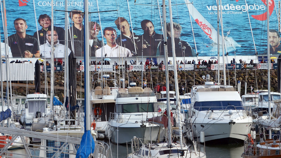 The sailors appear on billboards in the French city. First prize in the prestigious race is $190,600.