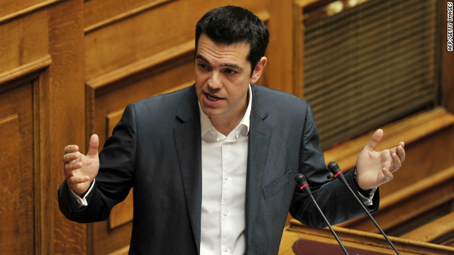 Left coalition main opposition party leader, Alexis Tsipras, gestures during his speech at the Greek parliament on July 7, 2012.