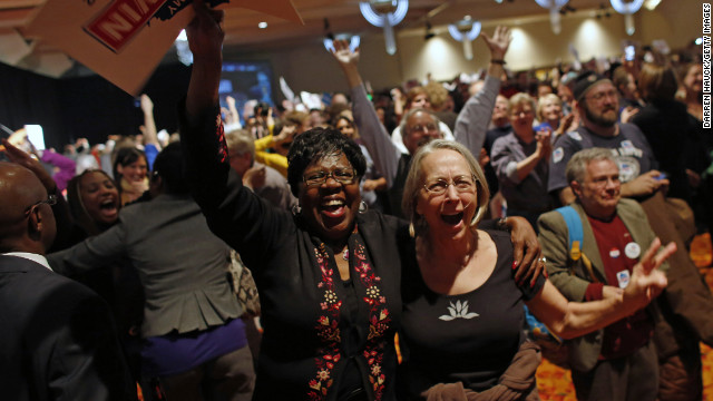 Supporters cheer after President Obama's projected win is announced during an election night event in Wisconsin.