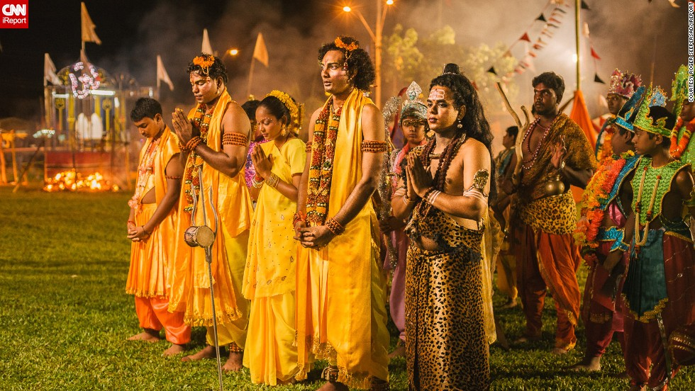 "For <a href=""http://ireport.cnn.com/people/riche90210"">Roger Seepersad</a> from the Caribbean island of Trinidad, Diwali offers the perfect opportunity to snap some spectacular images. ""Diwali is special to me because being a photographer, I am into light. It is the Festival of Light,"" he says. This photo shows actors praying at the end of a re-enactment of the life of the Indian king Lord Ram. Seepersad says the play runs for two hours every night for ten nights in the run-up to Diwali."
