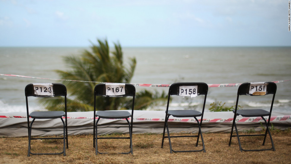 Reserved seats overlook the ocean to watch the total solar eclipse on Tuesday in Cairns.