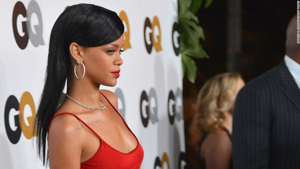 Rihanna arrives at the GQ Men of the Year Party in Los Angeles.