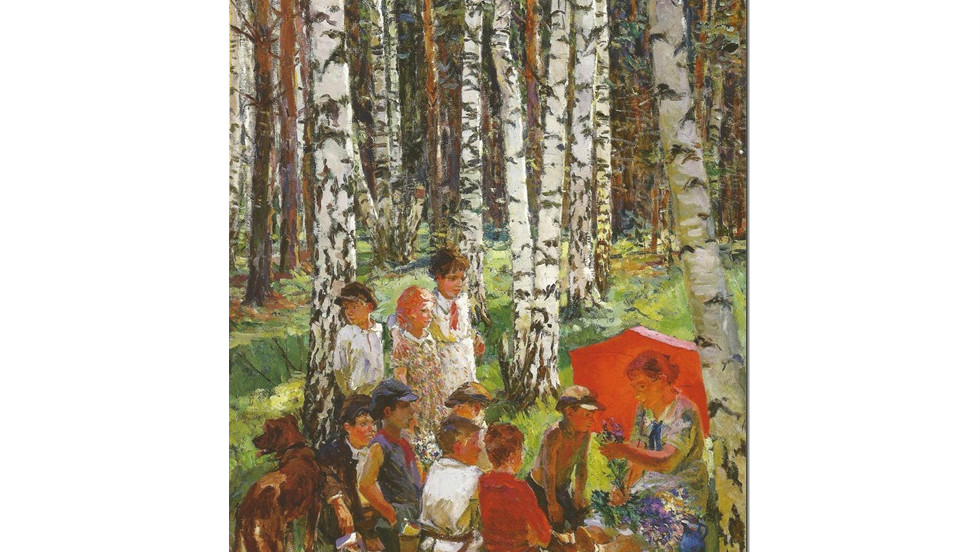 "This is a 1937 painting by Arkady Plastov, called ``Lesson in the Forest."" Painters from the Soviet Union-era have been praised for their artistry despite living under a repressive regime."