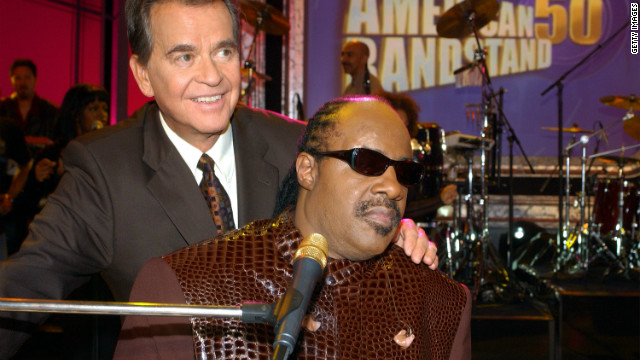 "Dick Clark and Stevie Wonder attended the taping of ""American Bandstands 50th...A Celebration"" television special in 2002."