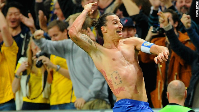 Zlatan Ibrahimovic celebrates after scoring his fourth goal in Sweden's 4-2 friendly victory over England.