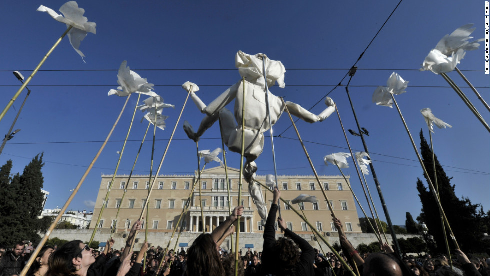 A puppet center stages a performance outside the Greek parliament in Athens during an anti-austerity protest Wednesday.