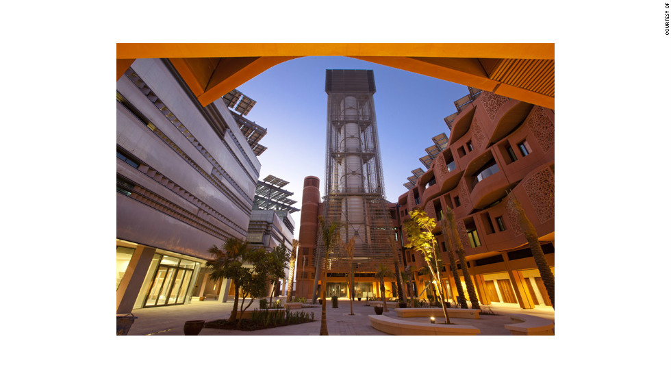 In Masdar City, a 45-meter-tall wind tower helps regulate air temperatures in the public square by controlling air movement.