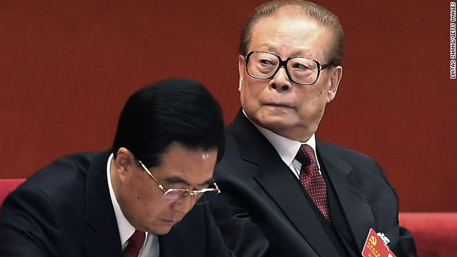 Chinese President Hu Jintao (L) and former president Jiang Zemin attend closing of the 18th Communist Party Congress at the Great Hall of the People on November 14, 2012 in Beijing, China. The Communist Party Congress will convene from November 8-14 and will determine the party's next leaders. (Photo by Lintao Zhang/Getty Images)