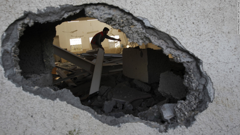 Palestinian youths inspect a destroyed mosque in northern Gaza on Friday, November 16.