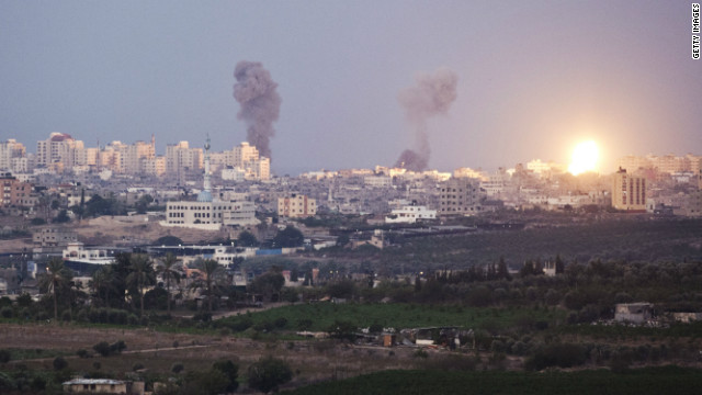 Smoke plumes rise over Gaza following Israel Air Force bombing on November 16, 2012 near Sderot, Israel.