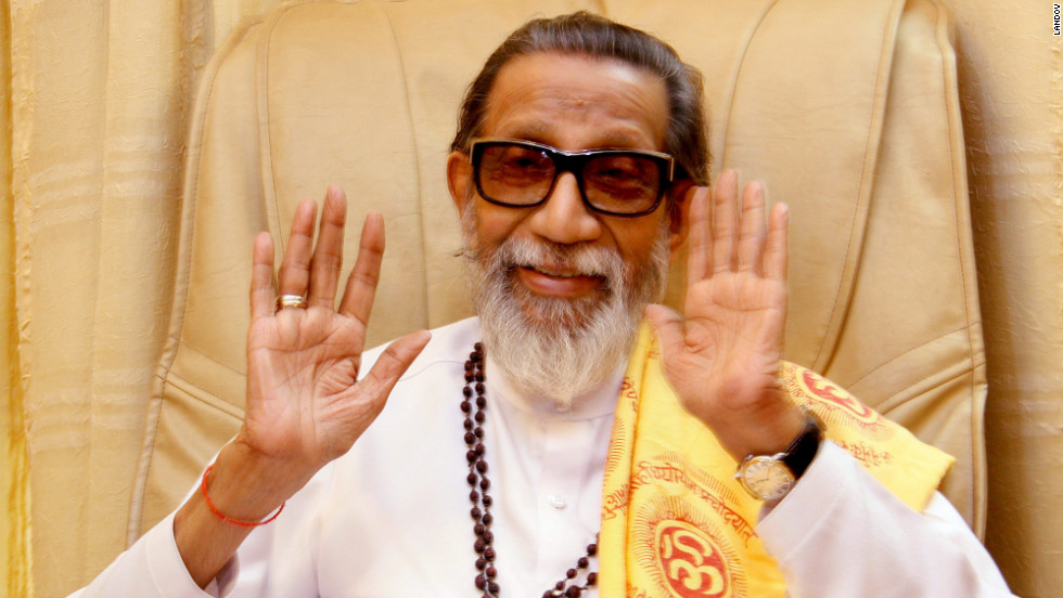 Thousands turned out on Sunday for the funeral procession of Bal Thackeray, the controversial founder of India's Hindu nationalist Shiv Sena party.  Thackeray, who called his followers 'Hindu warriors' and was widely accused of stoking ethnic and religious violence, died at  the age of 86.