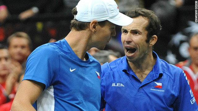 Tomas Berdych, left, celebrates with teammate Radek Stepanek after winning Saturday's doubles rubber in the Davis Cup final.