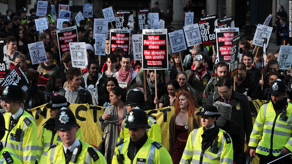 "Britain's National Union of Students holds its first big demonstration Wednesday since <a href=""http://www.cnn.com/2010/WORLD/europe/12/09/britain.student.protests/index.html?iref=allsearch"" target=""_blank"">its 2010 London march</a>, which turned violent. The Conservative Party headquarters was invaded, central London buildings were damaged and Prince Charles' car was attacked as he made his way to a theater."