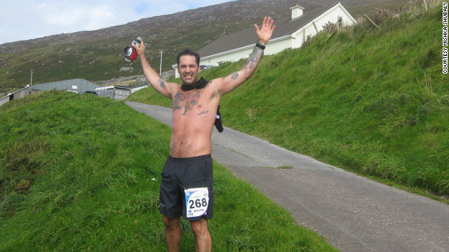 Mishka Shubaly celebrates another run in his fight against alcohol addiction.