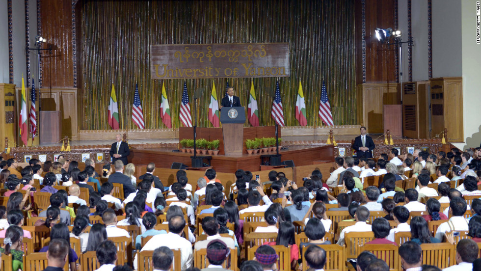 U.S. President Obama speaks at the University of Yangon on Monday.