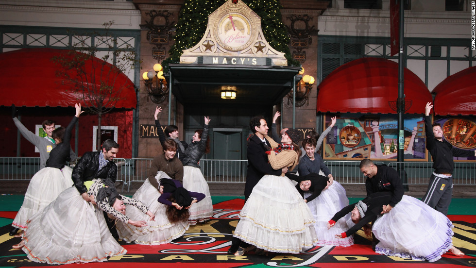 "The Broadway cast of Rodgers and Hammerstein's ""Cinderella"" rehearses for the Macy's parade."