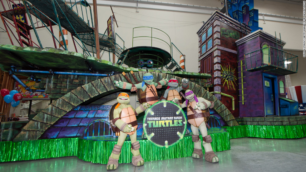 "Leonardo, Donatello, Raphael and Michelangelo are on hand for the unveiling of the ""Teenage Mutant Ninja Turtle"" float on November 13 at the Macy's Parade Studio in Moonachie, New Jersey. The float, based on the new Nickelodeon series, will make its premiere in the Macy's Thanksgiving Day Parade on Thursday."