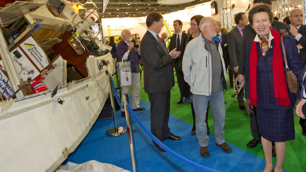 The UK's Princess Anne inspects the exploded Crash Test Boat, on display at the London Boat Show. The yacht is now used as a teaching aid at the International Boat Building College in Suffolk.