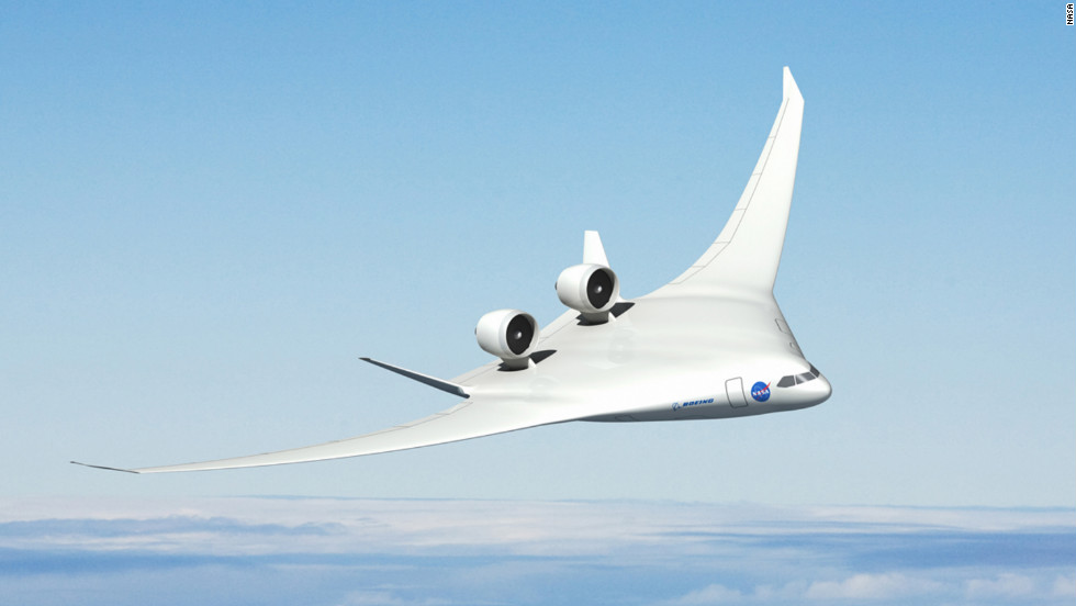 Boeing offered NASA this blended wing concept that includes two turbo-fan engines on top, shielded by vertical tail wings which are meant to block engine noise to the ground.
