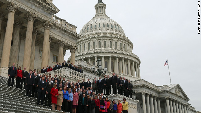 Congressional freshmen of the 113th Congress pose for a class picture on the steps of the U.S. Capitol last week.