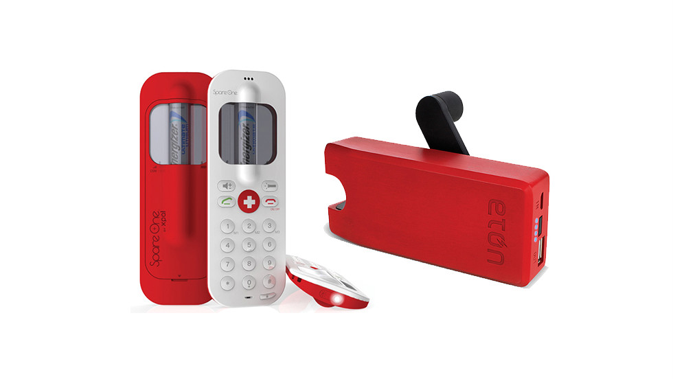 """For the safety-mided types in your family, these two gadgets are smart additions to any emergency kit. The $100 <a href=""""http://spareone.com/spareone/spareone-emergency-phone"""" target=""""_blank"""">SpareOne GMS emergency</a> mobile phone runs on AA batteries, doubles as a flashlight, can be located in an emergency and will stay charged (if you don't use it) for up to 15 years. The $60 <a href=""""http://www.shopetoncorp.com/detail/ETO+NBOTU2000+RED"""" target=""""_blank"""">BoostTurbine2000</a> is a small backup battery with a hand crank."""