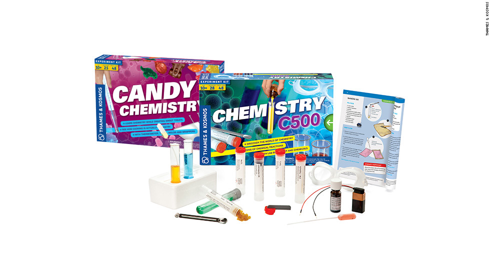 "<a href=""http://www.thamesandkosmos.com/"" target=""_blank"">Thames & Kosmos</a> has a broad selection of science sets that teach kids the basics with fun, hands-on experiments. There are <a href=""http://www.thamesandkosmos.com/products/chem/chemc3000.html"" target=""_blank"">classic chemistry sets</a> for all levels, including one that doubles as a <a href=""http://www.thamesandkosmos.com/products/exploration/candy.html"" target=""_blank"">candy-making kit</a>. Our other favorites include the <a href=""http://www.thamesandkosmos.com/products/ig/ig_ffl.html"" target=""_blank"">fingerprint lab</a>, the <a href=""http://www.thamesandkosmos.com/products/exploration/ve.html"" target=""_blank"">volcano and earthquake kit</a>, and the <a href=""http://www.thamesandkosmos.com/products/pw/pw2.html"" target=""_blank"">physics workshop</a>."