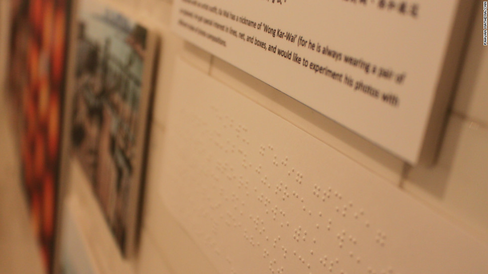 Photo captions were displayed in print and in Braille at the exhibition organised in November 2012 to showcase the students' work.