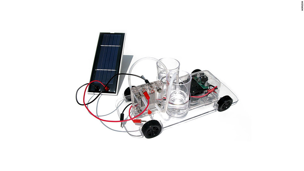 "<a href=""http://www.horizonfuelcell.com/education_kits.htm"" target=""_blank"">Horizon's model car</a> ($80) is powered by a reversible polymer electrolyte membrane fuel cell. Assemble the car while learning about renewable energy, then turn it loose. The car drives itself, automatically turning 90 degrees when it hits a barrier."