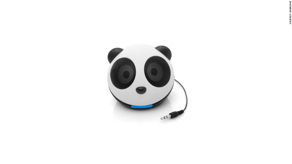 "Kids (and more than a few adults) will get a musical kick out of this little <a href=""http://www.gogrooveaudio.com/components/virtuemart/?page=shop.product_details&flypage=flypage.tpl&product_id=5&category_id=1"">panda-shaped speaker</a>, which connects to a phone, laptop, tablet or MP3 player to power your tunes on the go. Available for $24.99 from Amazon and other retailers."