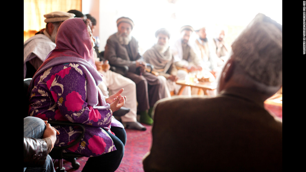 Jan meets with tribal elders in the village to speak about the school and girls issues. She said she has found it difficult to change a deep-rooted stigma against women's education.