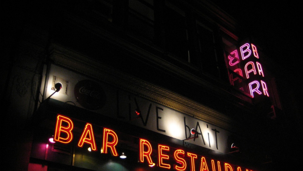 At Manhattan's Live Bait Bar on East 23rd St. a circa 1941 sign beckons patrons.<br /><br />