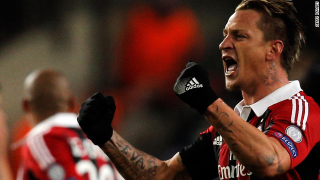 Philippe Mexes celebrates his stunning second goal for AC Milan in their 3-1 victory at Anderlecht.