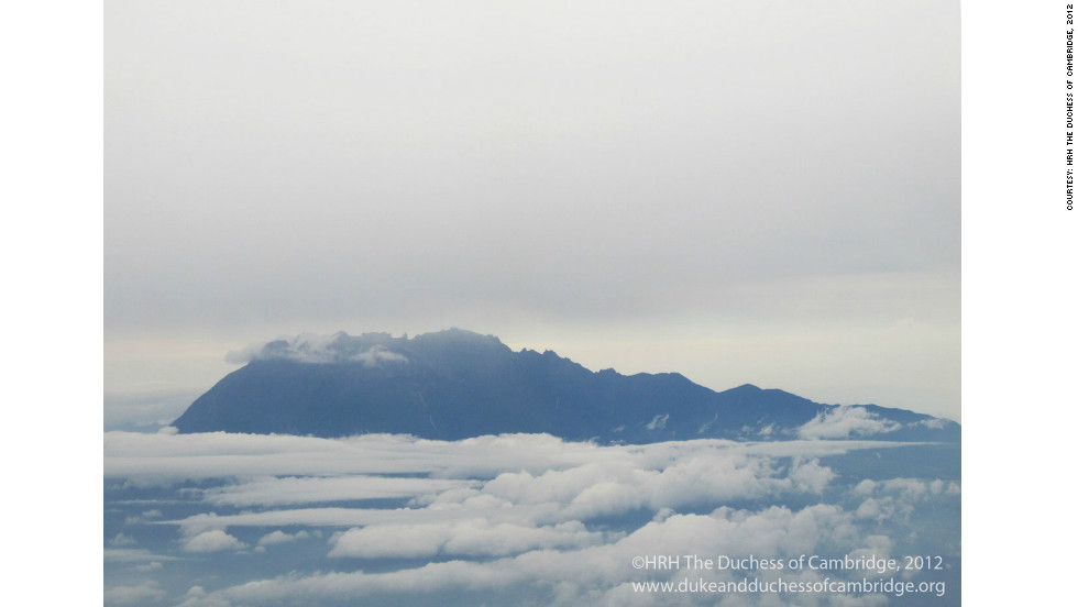 Mount Kinabalu is the highest point in Borneo. Taken by The Duchess on the flight to Solomon Islands.