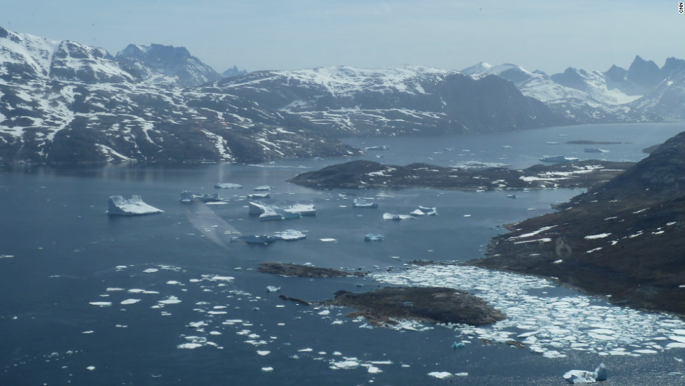 Field of icebergs in Fjord in southern Greenland.