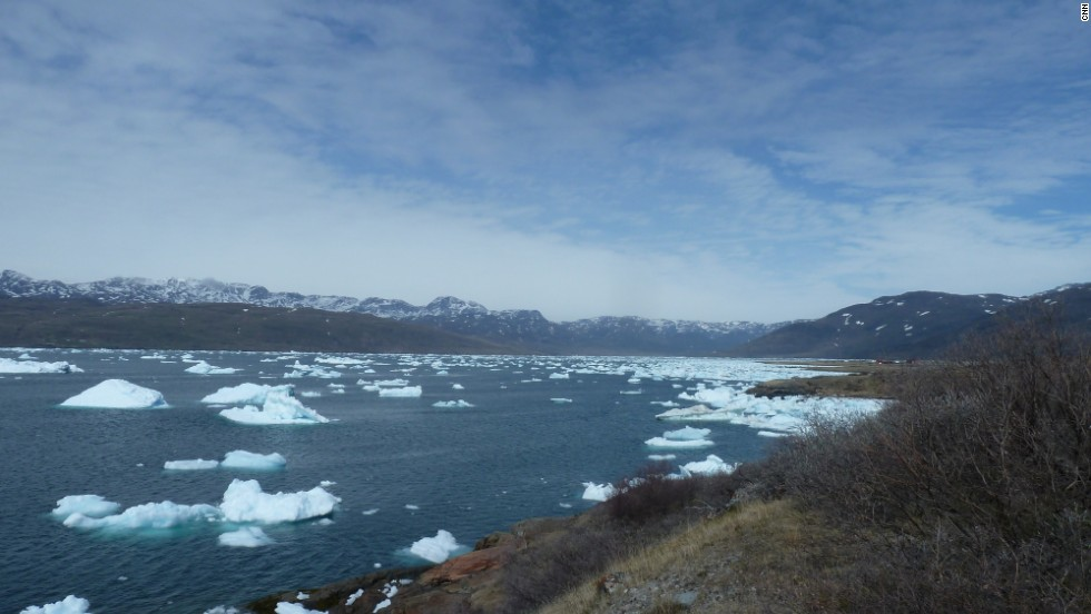 The bay of Narsarsuaq. Little more than shrubs grow here now, but this land appears to have been lush in the past.