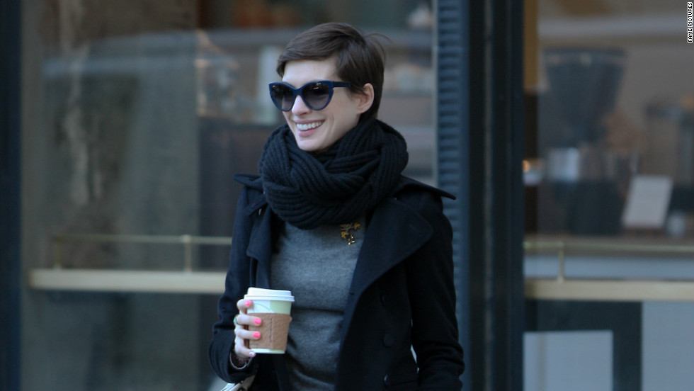 Anne Hathaway strolls the streets of New York City on November 21.