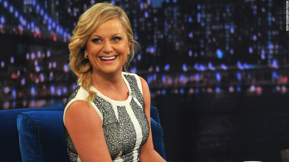 "Amy Poehler laughs while speaking with Jimmy Fallon on ""Late Night"" November 21."